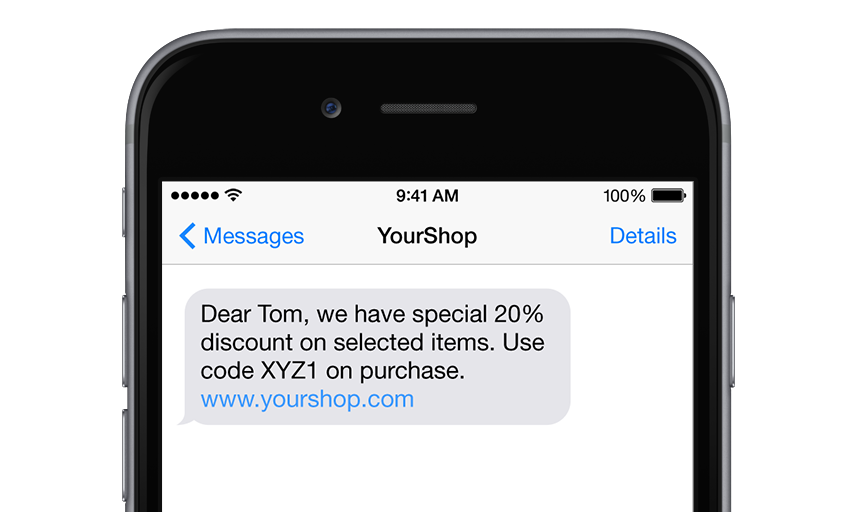 SMS with discount code