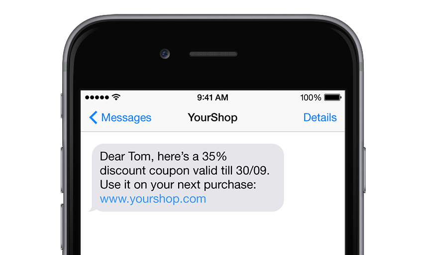 Text message with discount coupon