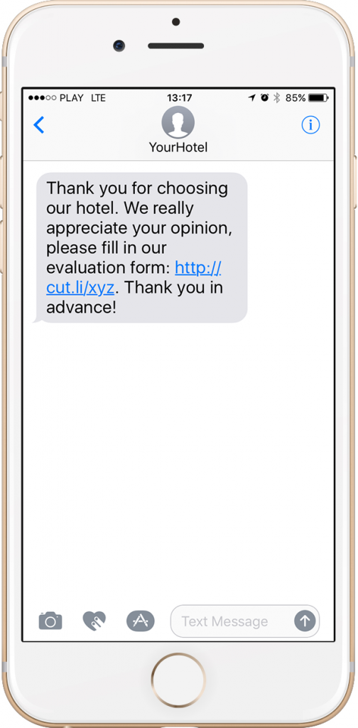 Text message with a short link