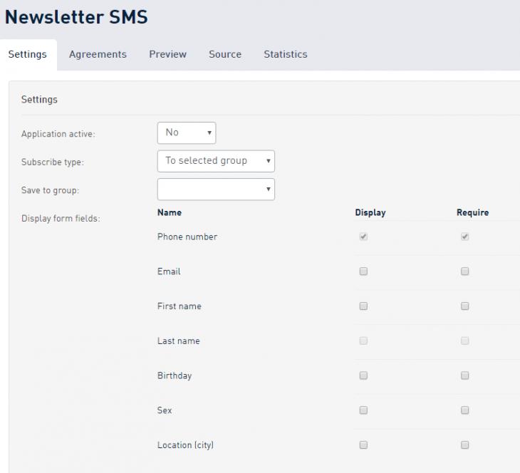 SMS Newsletter options in Customer Portal