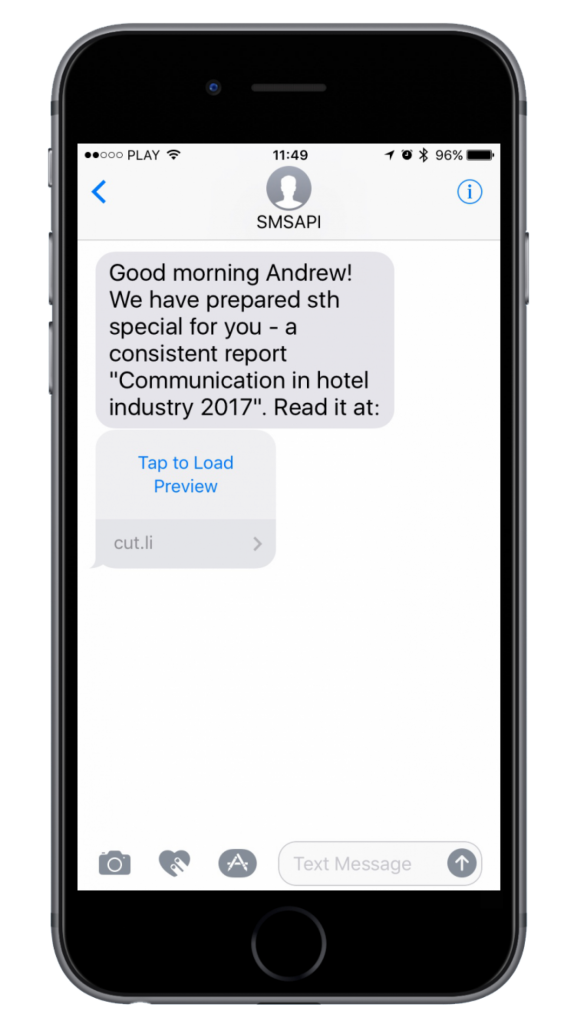 Example text message with a short link preview