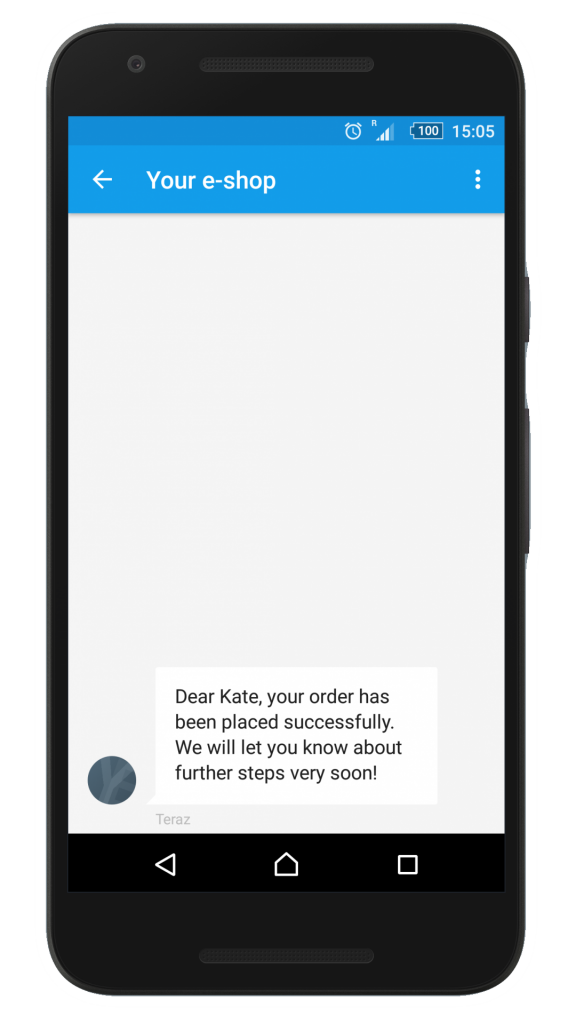 Order confirmation SMS notification