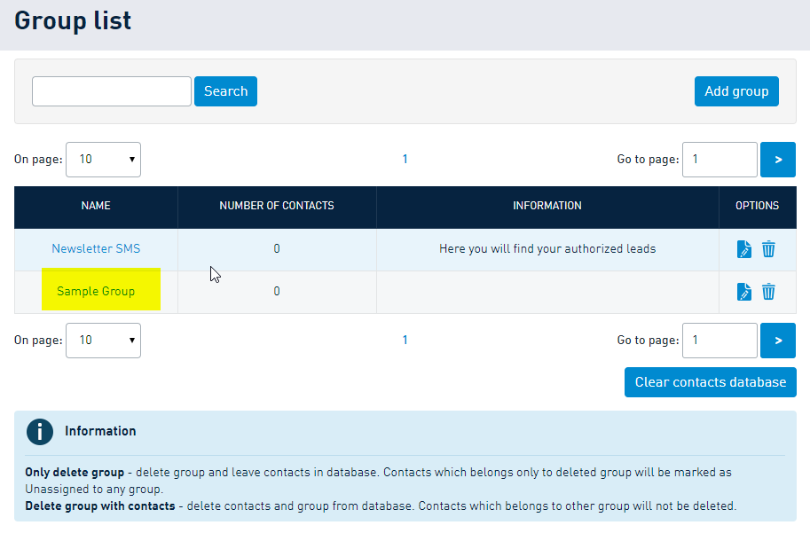 Creating a contact group in SMSAPI Customer Portal