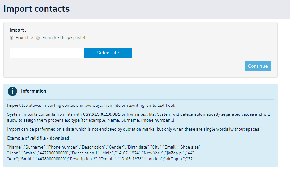 Importing a contact database to SMSAPI Customer Portal
