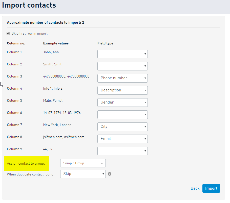 Selecting field types during import