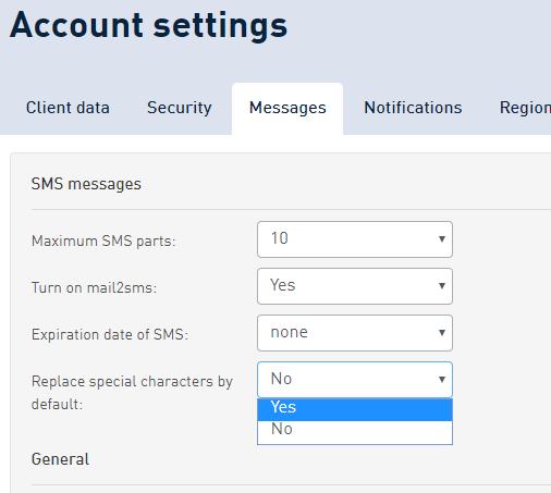 SMSAPI account settings