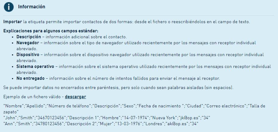 Informacion SMS content