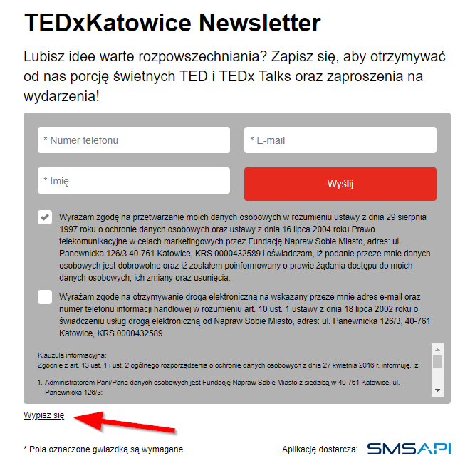 An example of SMS Newsletter with Opt-out