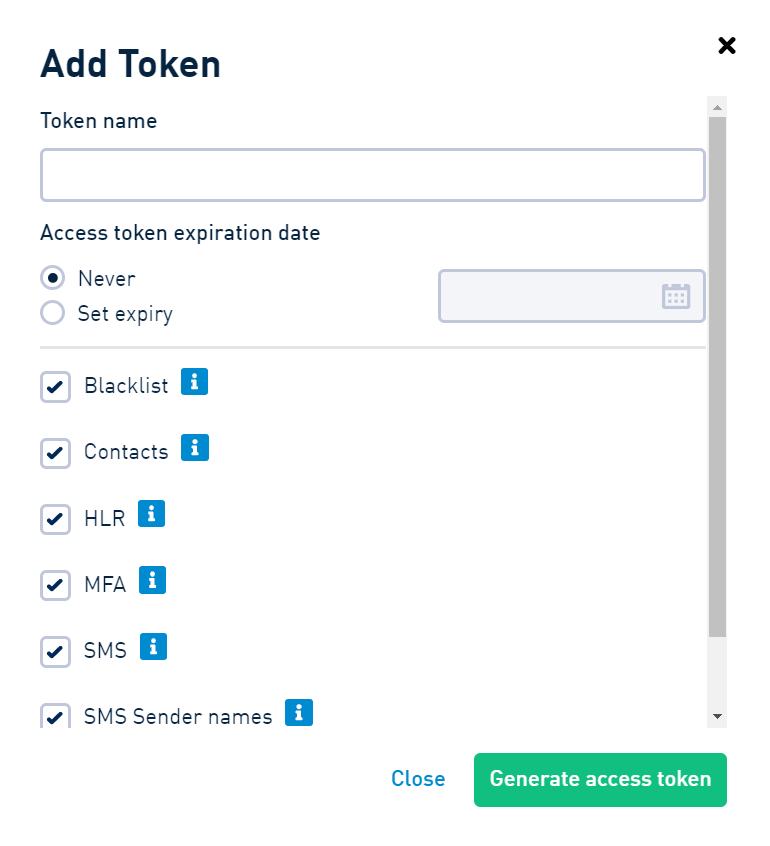 SMSAPI Add Token Customer Portal Security