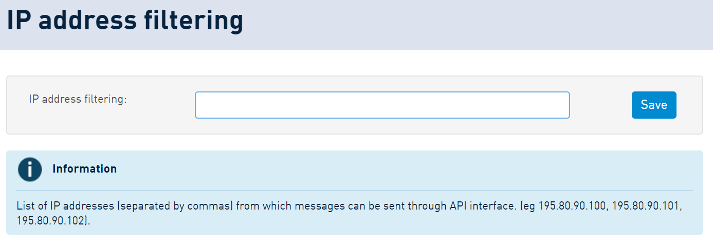 SMSAPI IP Filtering Customer Portal Security