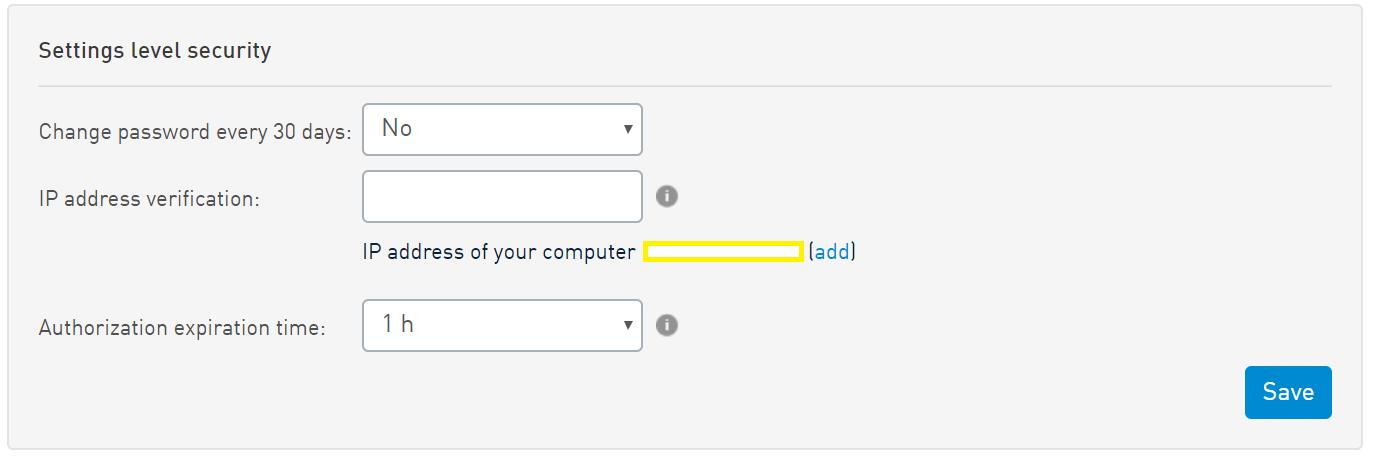 SMSAPI Settings Customer Portal Security IP Verification