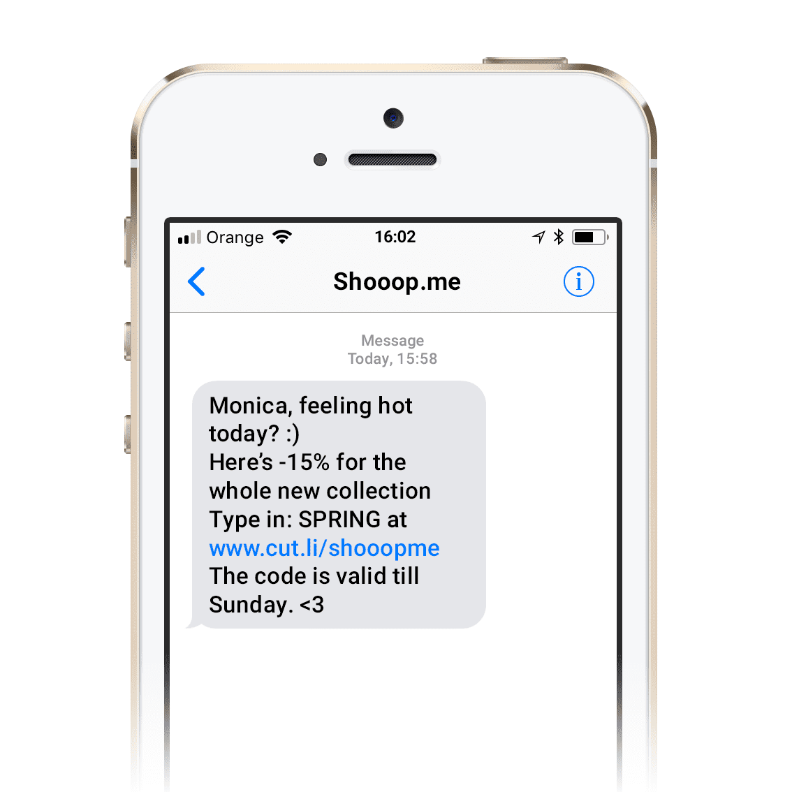 Example of an SMS with a sender name