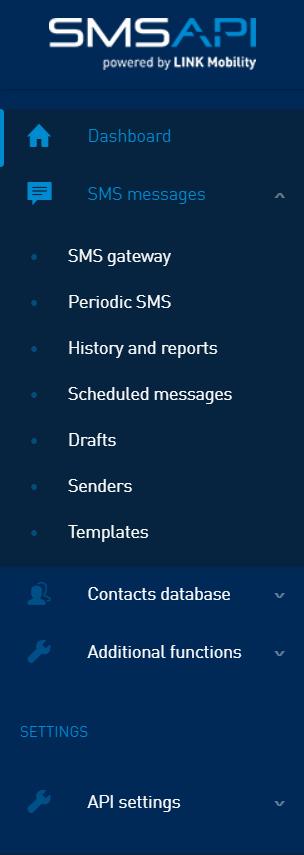 SMSAPI Customer Portal - Main Menu