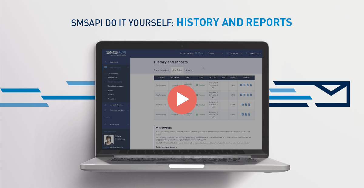 SMSAPI Do It Yourself Reports History
