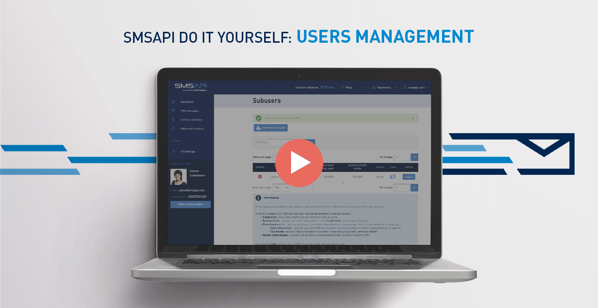 SMSAPI Do It Yourself Users Management