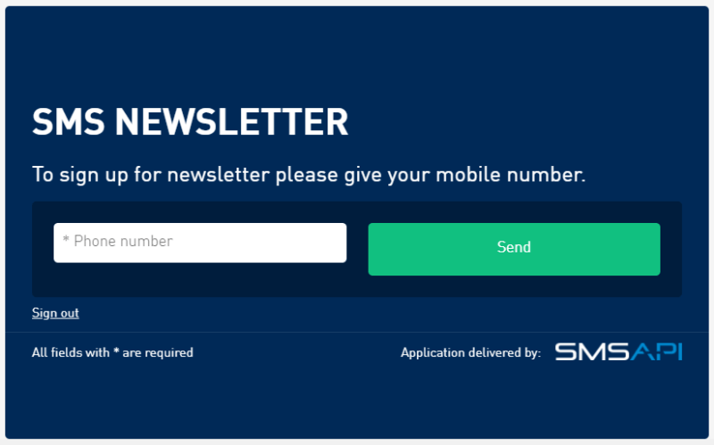 SMS Newsletter widget created in the SMSAPI Customer Portal