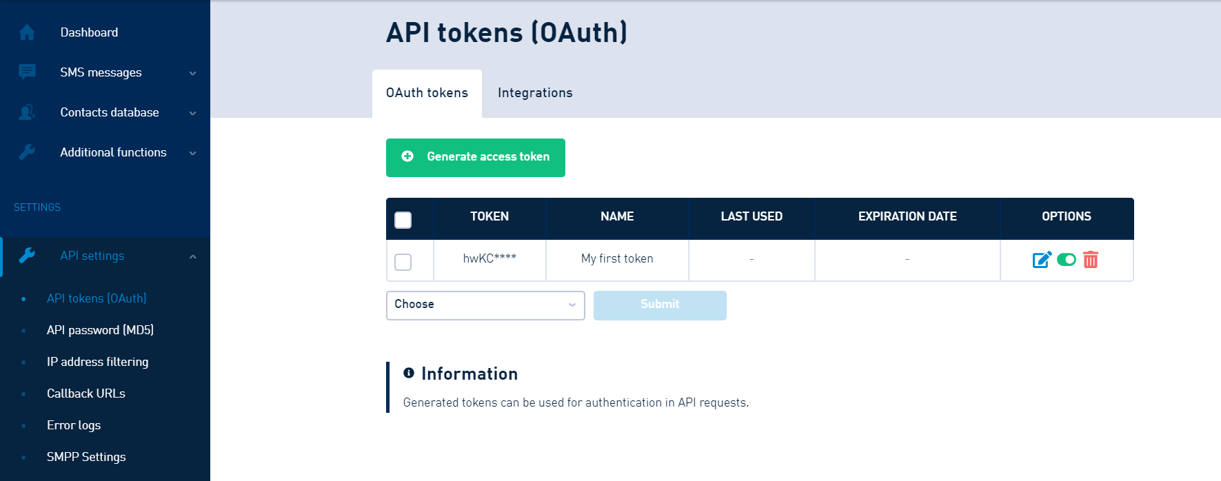 Manage your API tokens in Customer Portal