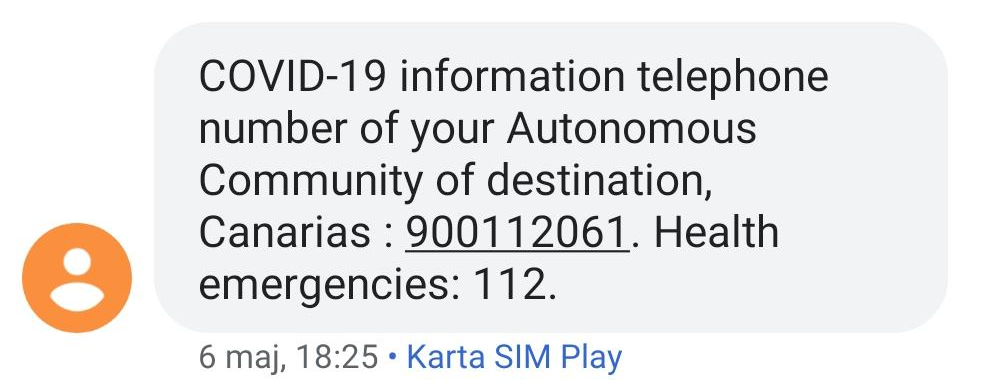 Text message informing about COVID-19
