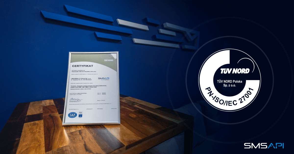 ISO 27001 Certificate for SMSAPI